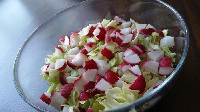 Surówka z młodej kapusty z rzodkiewką i majonezem