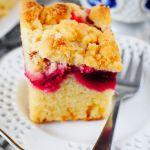 Ciasto drożdżowe bez wyrabiania z kruszonką i owocami